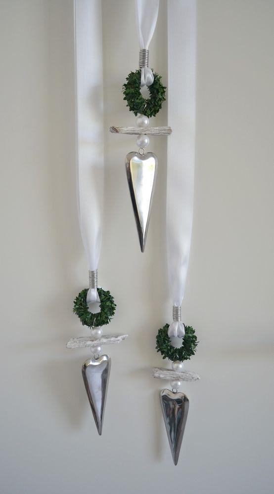 Fensterdeko Edelstahlherz, längliche Form mit Buchskranz, Treibholz u. Perlen | eBay