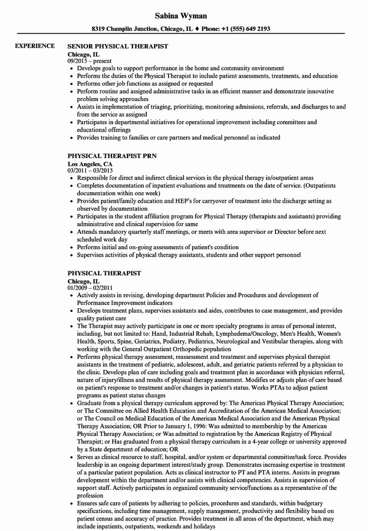 Physical therapist assistant Resume Examples Awesome