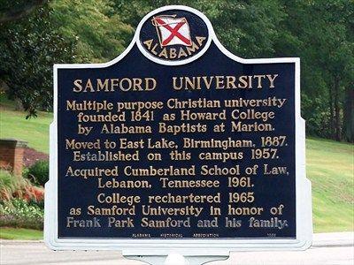 Samford University marker in Birmingham, AL formerly Howard College.