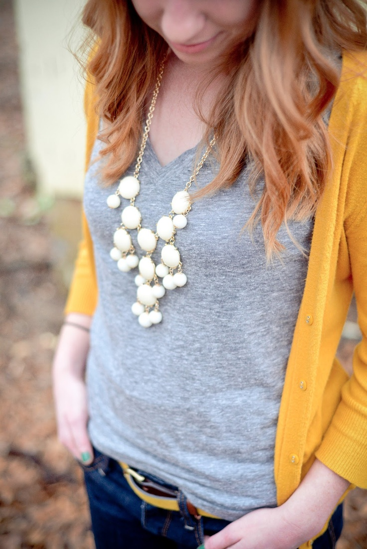 Gray v-neck t-shirt, golden yellow cardigan, and cream bubble necklace- thinkin' about fall already?? :) white gray yellow blue