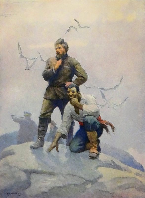 """The castaways await the lifting of the fog."" Art by N. C. Wyeth from ""The Mysterious Island"" by Jules Verne (Scribner's, 1927) 