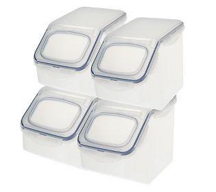 Lock n Lock 4 pc Flip top storage bin set. $24.84 on qvc. Holds 21.5 cups each