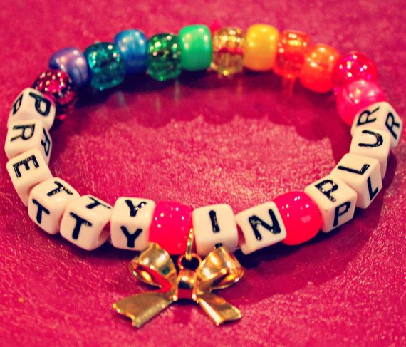 Pretty in Plur Rainbow Kandi Bracelet with Bow by KandiKweens