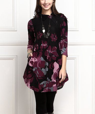 Another great find on #zulily! Black & Plum Floral Shawl Collar Button Tunic Dress - Plus Too #zulilyfinds