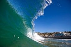 Barelling wave at St Clair Beach, Dunedin, New Zealand. Prints available starting at $49.