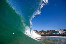 Barelling wave at St Clair Beach, Dunedin, New Zealand.