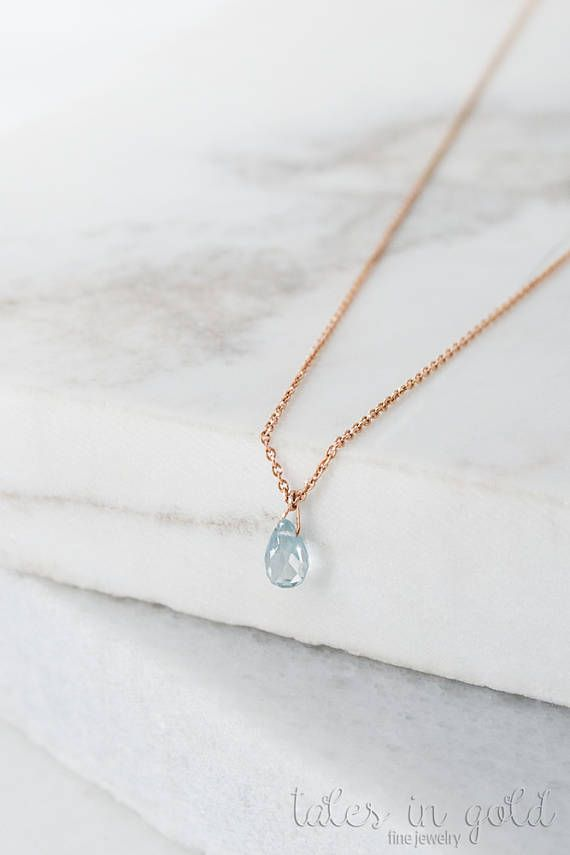 Birthstone Necklace Aquamarine Pendant 14k Gold Necklace
