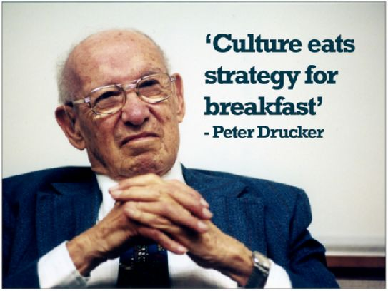 culture eats strategy for breakfast.- Peter Drucker. Outstanding insight. Leaders create culture as their first priority.