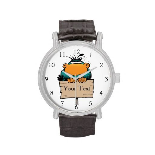 A wristwatch with attitude! The Swamp Bludgerigar embellishes the watch face and you can personalise it with text such as a person's name or special date - whatever you like! $69.95 from the Swamp Cartoons Zazzle Store. http://www.zazzle.com.au/swamp_bludgerigar_cartoon_wrist_watch-256227328154188847?rf=238100710189761270