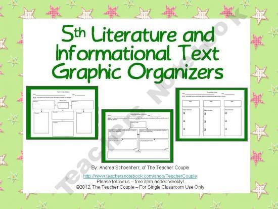 5th Grade Common Core Reading Graphic Organizers product from TheTeacherCouple on