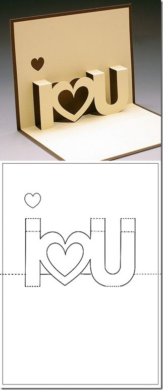 A really original Valentine day's card!  Use the two cut out hearts from inside for the front.