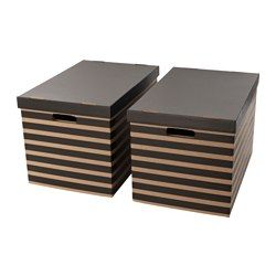 IKEA - PINGLA, Box with lid, , Suitable for storing or moving books and other heavy items, since the bottom is reinforced.Cut-out handles on two sides make it easier to lift and carry the box.