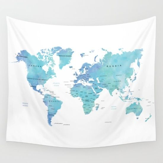 watercolor blue world map