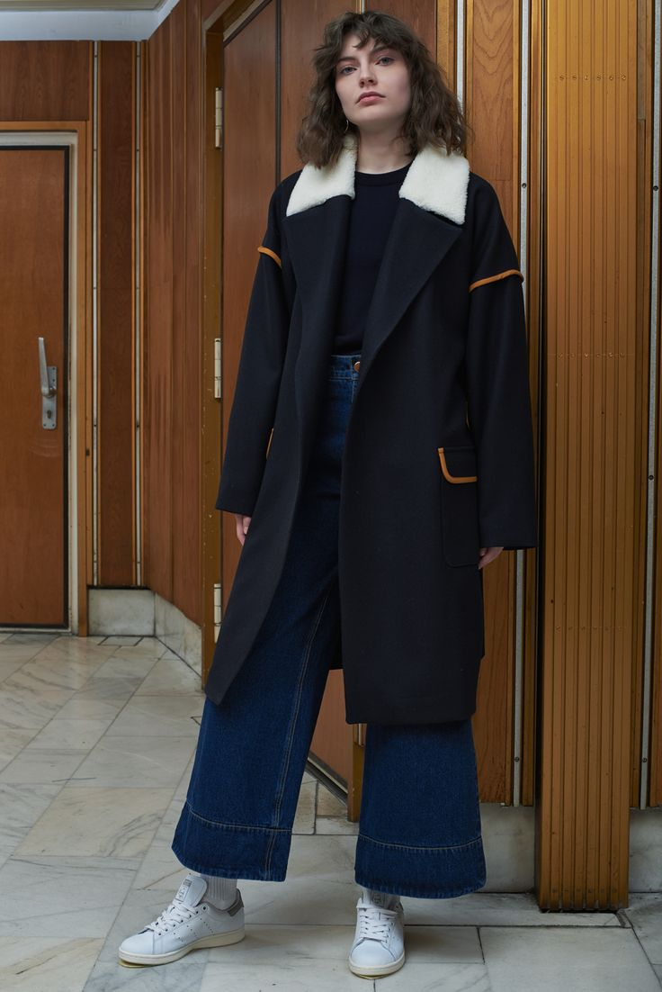 POLTAVA - oversized coat in navy with NOVI - embroidered sweater in navy and VILNIUS - flared denim trousers in dark wash