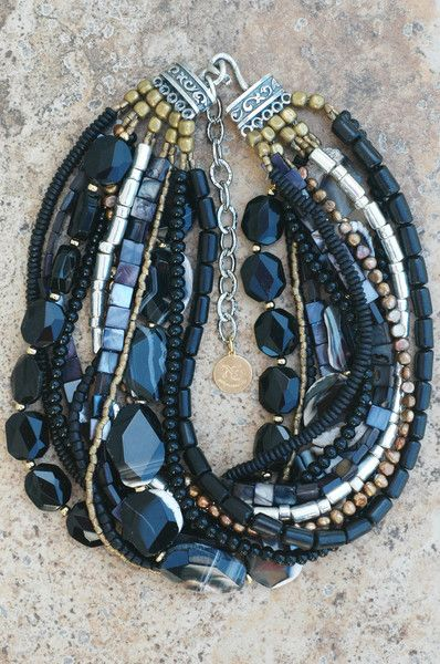 Elegant Black Agate, Gold and Silver Necklace   XO Gallery