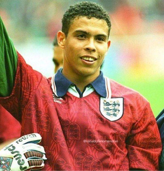 A young Ronaldo wears England Shirt @england @umbro @ronaldolima by mundialstyle
