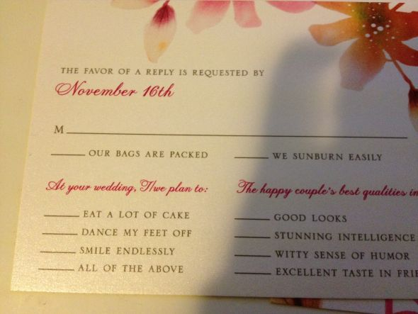 Humor Wedding Invitations: Creative RSVP Wording