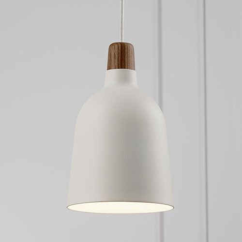 Sleek White Pendant Light with Timber Top