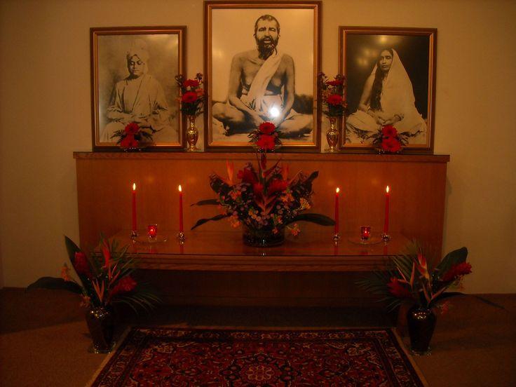 Vivekananda, Sri Ramakrishna and Sri Sarada Devi. Altar at the Vedanta Center of St. Petersburg, Florida