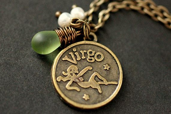 Virgo Sun Sign Necklace. Zodiac Necklace with Glass Teardrop and  Fresh Water Pearl. Virgo Necklace. Handmade Jewelry. on Etsy, $24.00