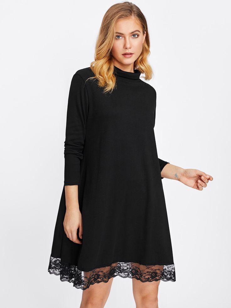 Shop High Neck Lace Hem Dress online. SheIn offers High Neck Lace Hem Dress & more to fit your fashionable needs.
