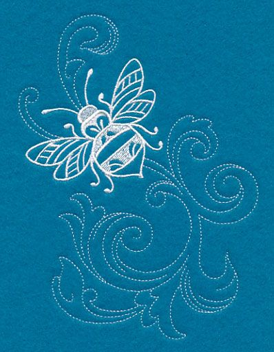 Shabby Chic Bee Spray (Whitework) design (M11746) from www.Emblibrary.com