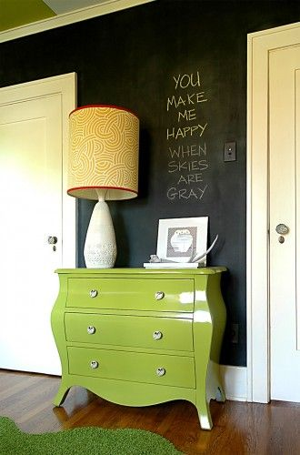 Chalkboard paint is the perfect touch for a modern nursery. #chalkboard #modern #nurseryIdeas, Chalkboard Walls, Modern Kids, Chalkboards Painting, Chalk Boards, Dressers, Modern Nurseries, Chalkboards Wall, Kids Design