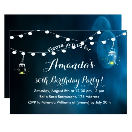 #Birthday party invitation romantic dark blue moon - #birthdayinvitation #birthday #party #invitation #cool #parties #invitations