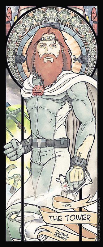The Shonen Avengers : XVI - The Tower (Ulysse) Seizième carte du tarot piémontais symbolisant la tour, inspirée dans le style Art Nouveau de l'univers de l'animé Ulysse 31.