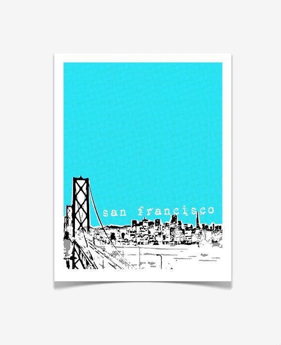 San Francisco Skyline Poster Bridge View   San Francisco California City  Skyline Art Print   VERSION 1