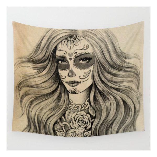 Sugar Skull Wall Tapestry 39 Liked On Polyvore