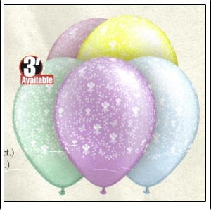 "11"" Flowers-A-Round Balloons (Diamond Clear or Pastel Pearl Assortment) 10 Balloons"