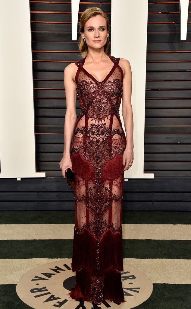 Diane Kruger in Reem Acra at the 2016 Vanity Fair Oscar Party on February 28, 2016