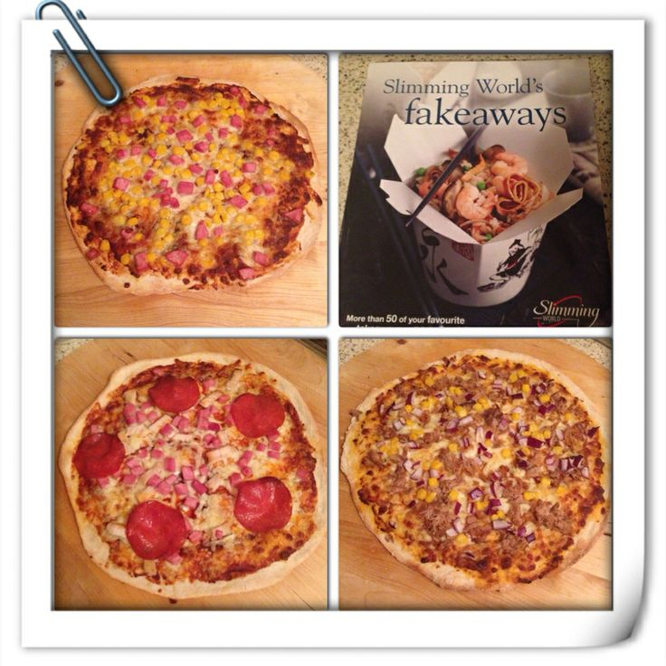 Slimming world pizza base from the Fakeaway cookbook with various toppings for the family and only 5.5 syns per serving :)