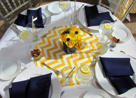 """TABLE ROUNDS CHEVRON Yellow and white table rounds for Centerpieces Yellow  zigzag chevron 20"""" Other Colors Available on Etsy, $9.50"""