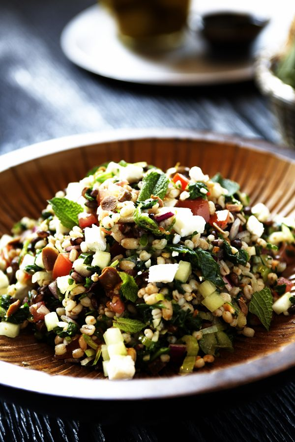 Barley Salad with pine nuts, baby spinach, tomatoes, scallions, lime juice, parsley, feta, diced cucumber, red onion,  red wine vinegar, kalamata olives, and chopped mint
