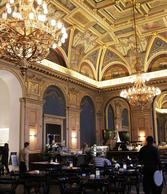 Károly Lotz painted the breathtaking ceiling of Budapest's Lotz Coffee House in 1910 in a bold Renaissance style.