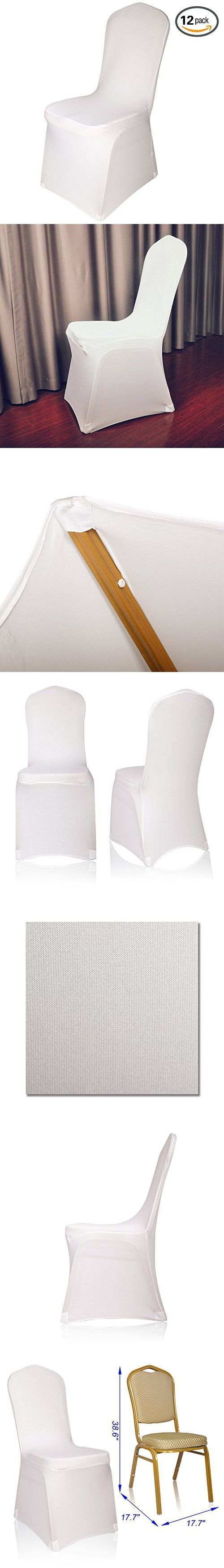 Emart Set of 12pcs Ivory Color Polyester Spandex Banquet Wedding Party Chair Covers