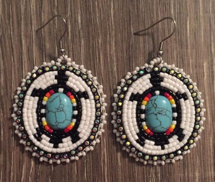 Navajo Native American Beaded Oval Turquoise Turtle Dangle Earrings | eBay