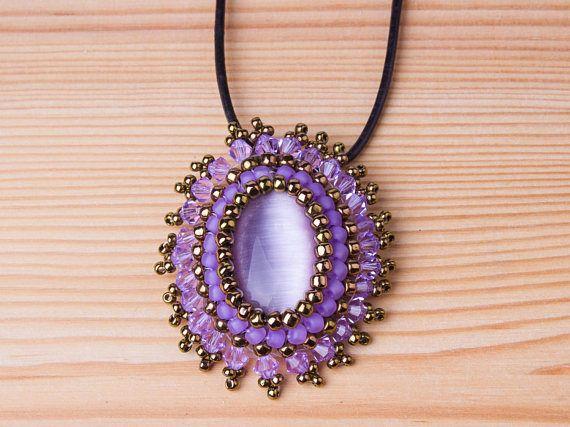 Hand beaded Swarovski purple pendant on leather #jewelry #necklace @EtsyMktgTool http://etsy.me/2iEF8kE