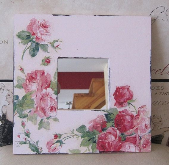 Romantic style decoupage mirror by aivitahenina on Etsy, $35.00
