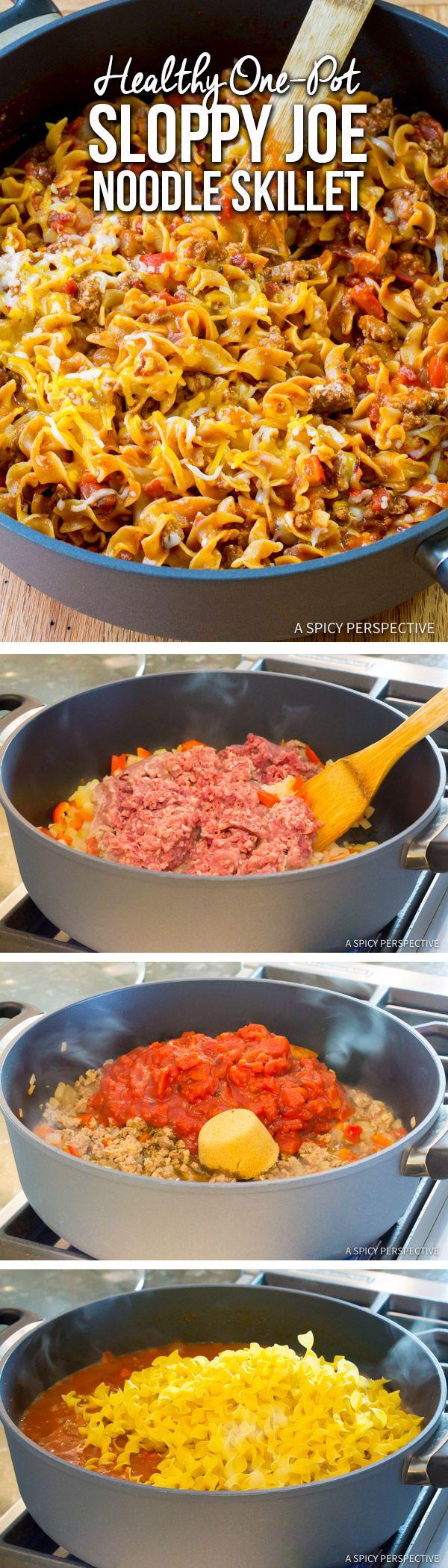 Healthified One-Pot Sloppy Joe Noodle Skillet | ASpicyPerspective.com via @spicyperspectiv