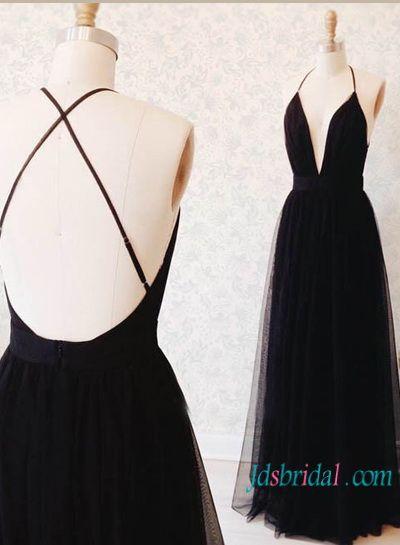 Custom black boho backless slit maxi prom dress