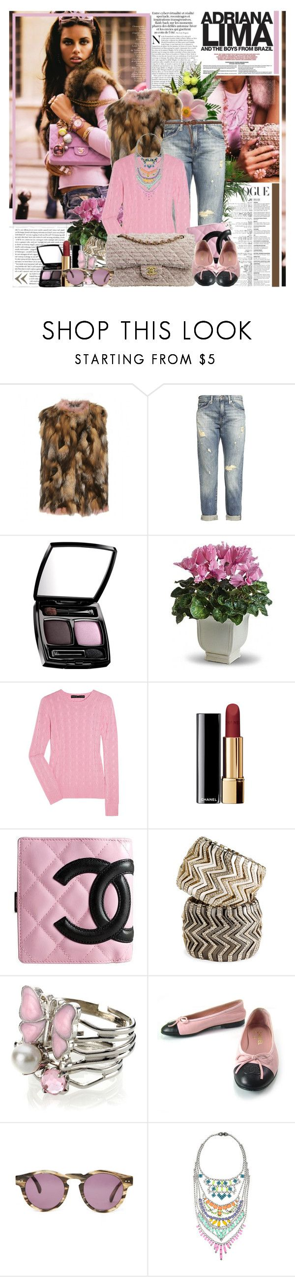 """? Adriana Lima ?"" by misssophie ❤ liked on Polyvore featuring Miu Miu, Denim & Supply by Ralph Lauren, Chanel, PLANT, Ralph Lauren Black Label, Cara Accessories, Monsoon, Illesteva and Tom Binns"