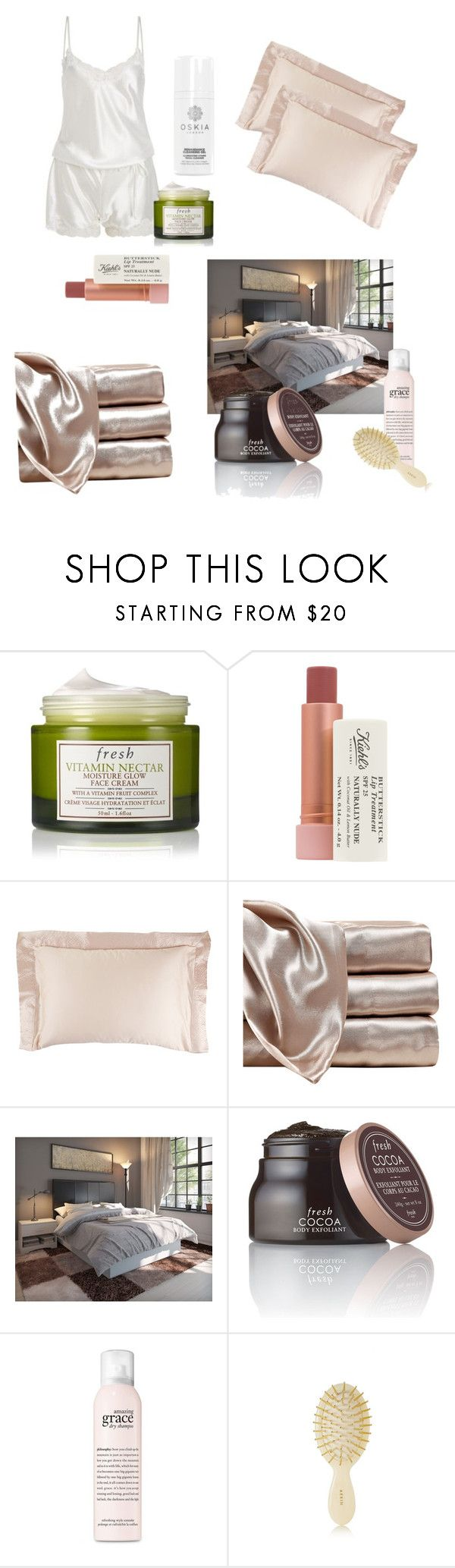 """""""(night routine pt.2)  🍋💧"""" by glowingsilk ❤ liked on Polyvore featuring beauty, LingaDore, Fresh, Kiehl's, La Perla, Furniture of America, philosophy and AERIN"""