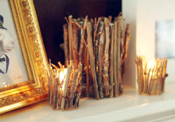 Candles given a touch of fall with twig decorations <3   #BBWHome