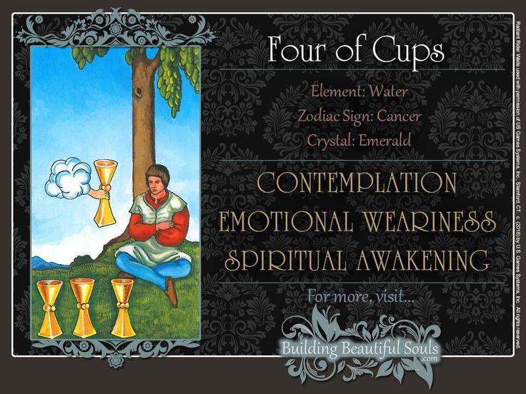 THE Four of Cups TAROT CARD MEANINGS - UPRIGHT& REVERSED! The Four of Cups Tarot includes LOVE, NUMEROLOGY, & SYMBOLS for more accurate TAROT READING.