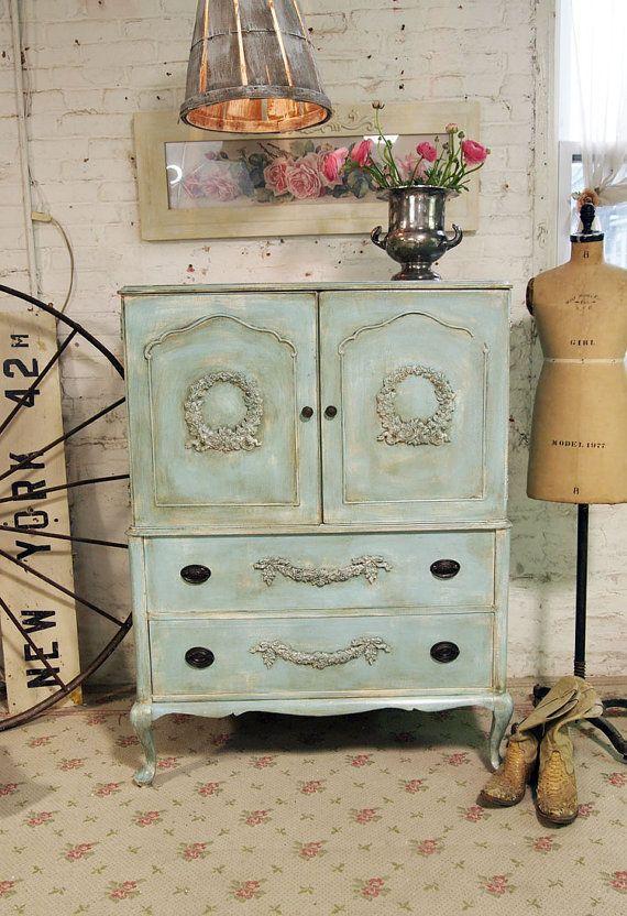 Painted Cottage Chic Shabby Aqua French Dresser