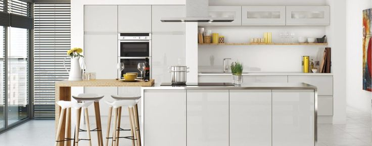 Interesting Kitchen Design With White Wooden Kitchen Cabinet And Kitchen Island Connected By Brown Dining Table And Four Brown Bar Stools On The White Floor With Cabinets Direct And Pre Assembled Kitchen Cabinets, Adorable Design Rta Kitchen Cabinets: Kitchen