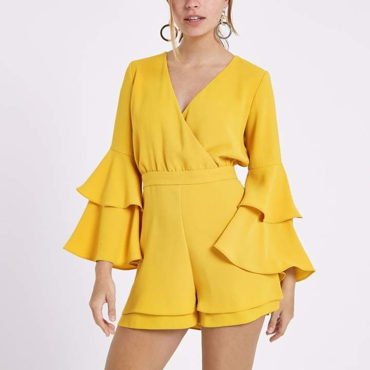 River Island Womens Petite mustard Yellow frill sleeve playsuit